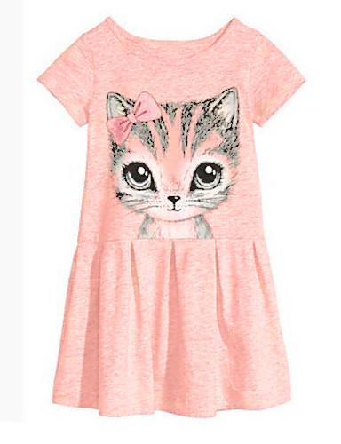 preiswerte Mach mit bei der tierischen Party-Baby Mädchen Blumig Zeichentrick Druck Kurzarm Lang Kleid Rosa / Baumwolle