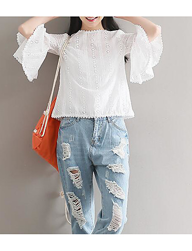 Women S Holiday Blouse Solid Colored Lace Cut Out Crew Neck