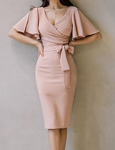 levne Pracovní šaty-Dámské Bavlna Motýlí rukávy Štíhlý Bodycon Šaty - Jednobarevné, Wrap Délka ke kolenům Do V Vysoký pas Dusty Rose / Sexy