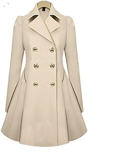 preiswerte Überbekleidung-Damen Alltag Frühling Lang Trench Coat, Solide Hemdkragen Langarm Polyester Schwarz / Marineblau / Khaki