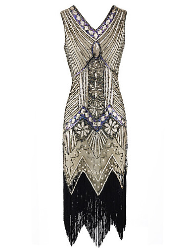 cheap Historical & Vintage Costumes-The Great Gatsby Charleston 1920s Roaring Twenties Summer Flapper Dress Women's Sequins Costume Black / Emerald Green / Black / Red Vintage Cosplay Party Prom Sleeveless Knee Length