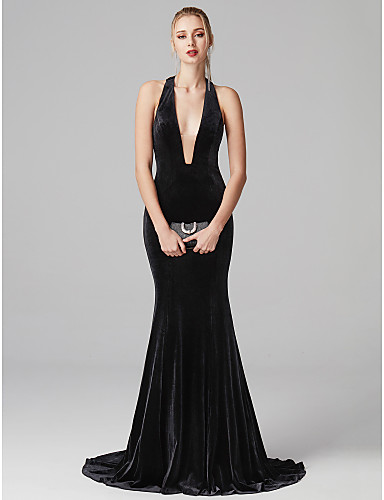 b6a1a0c80a3 Mermaid   Trumpet Plunging Neck Sweep   Brush Train Velvet Open Back  Cocktail Party   Prom   Formal Evening Dress with Pleats by TS Couture®  6553490 2019 – ...