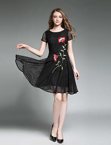 fb4e593775d6 Γυναικεία Καθημερινό Κομψό στυλ street Λεπτό Skater Φόρεμα - Συμπαγές  Χρώμα
