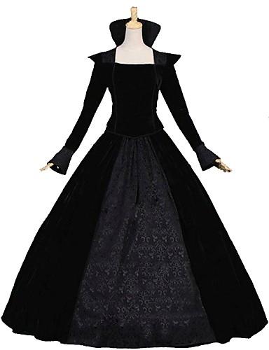 povoljno Maske i kostimi-Queen Victoria Rococo Viktoriánus 18. stoljeće Haljine Izgledi Žene Kostim Crn Vintage Cosplay Dugih rukava Do poda Dugi Duljina Krinolina Veći konfekcijski brojevi Prilagođeno