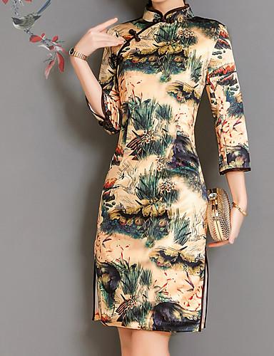 ff663d3822 Mujer Tejido Oriental Algodón Delgado Vaina Vestido Un Color   Floral Sobre  la rodilla Escote Chino   Primavera 6587828 2018 –  28.34
