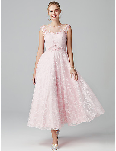 cheap Special Occasion Dresses-A-Line Floral Pink Cocktail Party Prom Dress Illusion Neck Short Sleeve Ankle Length Lace with Appliques 2020