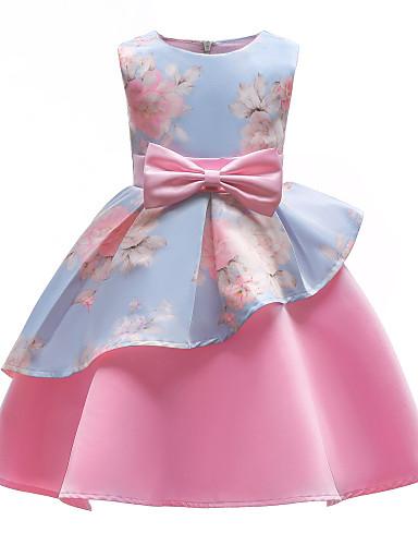 preiswerte Kinder Mode Kollektion Ausverkauf-Kinder Mädchen Party Party Blumen Schleife Druck Ärmellos Kleid Rosa / Baumwolle