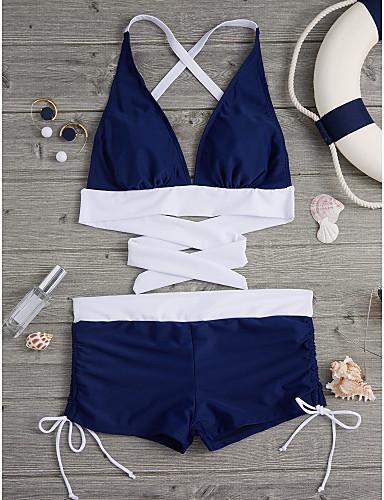 billige Dametopper-Dame Solid Fargeblokk Grime Blå Svart Marineblå Bikini Badetøy - Ensfarget M L XL Blå