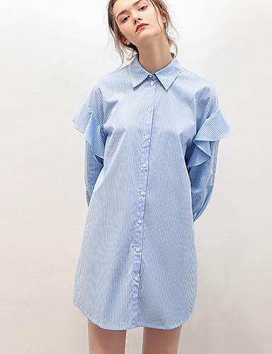 91cc6249dc1c Γυναικεία Αργίες Βασικό Βαμβάκι Πουκάμισο Φόρεμα - Ριγέ