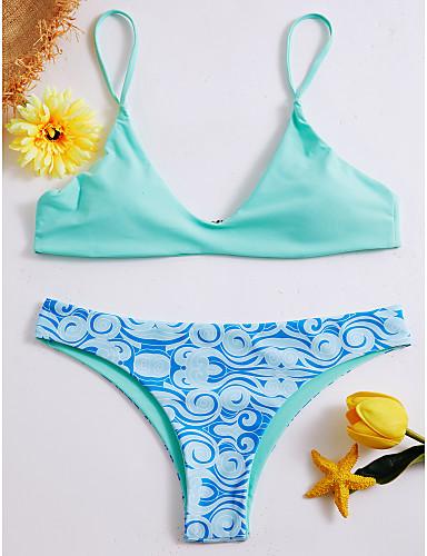 billige Bikinier og damemote-Dame Chic & Moderne Lysegrønn Underbukser Bikini Badetøy - Flerfarget Sexy Trykt mønster S M L Lysegrønn