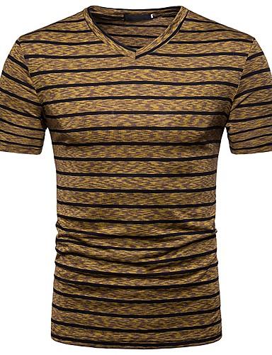 Ανδρικά T-shirt Ενεργό / Βασικό - Βαμβάκι Ριγέ Λαιμόκοψη V / Κοντομάνικο / Καλοκαίρι