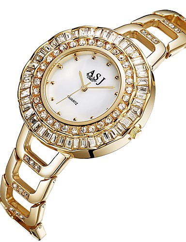 ASJ Γυναικεία Καθημερινό Ρολόι Μοδάτο Ρολόι Diamond Watch Ιαπωνικά Χαλαζίας Ανοξείδωτο Ατσάλι Ασημί / Χρυσό 30 m απομίμηση διαμαντιών Αναλογικό κυρίες Καθημερινό Μοντέρνα - Χρυσό Ασημί / Δύο χρόνια