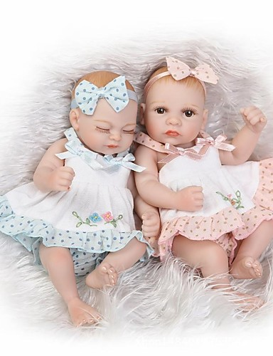 cheap Kids' Dolls, Playsets & Stuffed Animals-NPKCOLLECTION NPK DOLL Reborn Doll Girl Doll Baby Girl 10 inch Full Body Silicone Silicone Vinyl - Newborn lifelike Cute Hand Made Child Safe Non Toxic Kid's Unisex Toy Gift / Natural Skin Tone