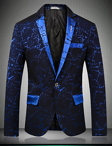 cheap Men's Blazers & Suits-Men's Party / Club / Party / Cocktail Sophisticated Spring / Fall Regular Blazer, Print / Floral Print Notch Lapel Long Sleeve Cotton / Polyester Blue / Black / Wine