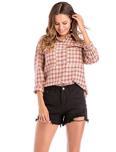 billige Skjorter til damer-Bomull Løstsittende Skjortekrage Skjorte Dame - Fargeblokk Aktiv Ut på byen Svart / Vår