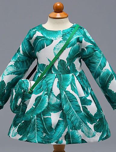 preiswerte Frische Palmenprints-Baby Mädchen Freizeit Alltag Schultaschen Blumen Einfarbig Langarm Kleid Grün / Baumwolle / Niedlich