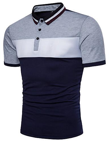 저렴한 남성 폴로-남성용 컬러 블럭 블랙&화이트 베이직 Polo - 면 활동적 일상 셔츠 카라 루비 / 옐로우 / 라이트 그레이 / 여름 / 짧은 소매