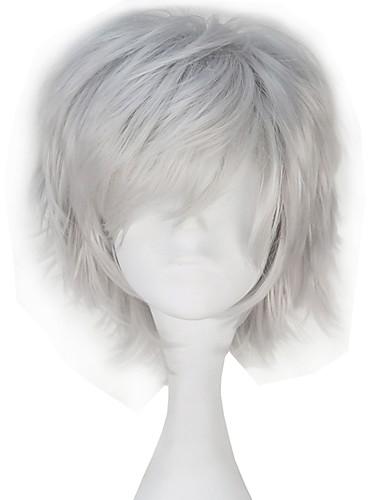levne Cosplay paruky-Tokyo Ghoul Ken Kaneki Cosplay Paruky Vše 12 inch Horkuvzdorné vlákno Stříbrná Anime