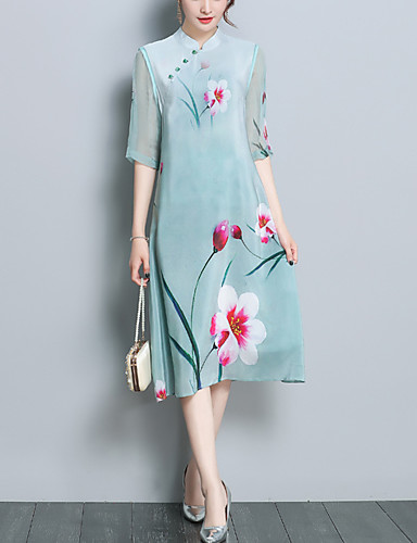 01c02a9413b Women s Plus Size Party   Going out Vintage   Chinoiserie Silk   Polyester  Slim Shift Dress - Floral Patchwork   Print Stand   Spring 6580847 2019 –   27.29