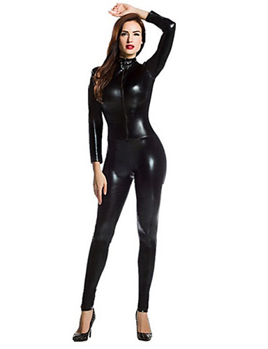 cheap Zentai Suits-Shiny Zentai Suits Catsuit Skin Suit Motorcycle Girl Adults' All Spandex Latex Cosplay Costumes Sex Men's Women's Black Solid Colored Halloween Masquerade