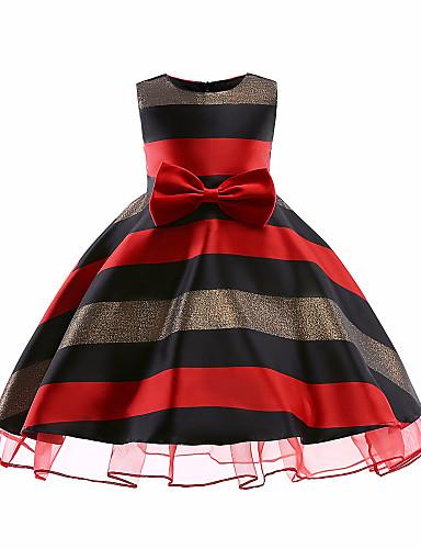 preiswerte Baby & Kinder-Kinder Mädchen Freizeit Weihnachten Gestreift Weihnachten Ärmellos Kleid Rote / Baumwolle / Niedlich