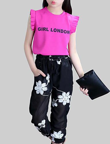 preiswerte Ausverkauf-Kinder Mädchen Aktiv Alltag Blumen Buchstabe Druck Ärmellos Standard Kleidungs Set Weiß