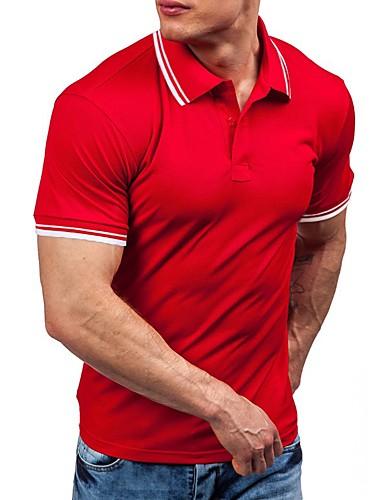 levne Pánská polo trika-Pánské - Jednobarevné / Barevné bloky Sport Polo Bavlna Kulatý Žlutá / Krátký rukáv
