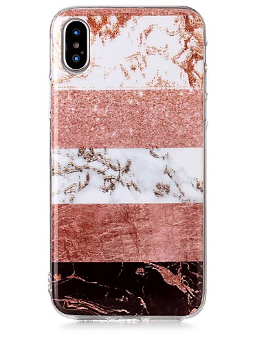 Etui Til Apple iPhone X / iPhone 8 Plus / iPhone 8 IMD / Mønster Bakdeksel Glimtende Glitter / Marmor Myk TPU