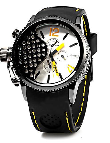 Ανδρικά Καθημερινό Ρολόι Μοδάτο Ρολόι Ιαπωνικά Χαλαζίας σιλικόνη Μαύρο Ημερολόγιο Καθημερινό Ρολόι Απίθανο Αναλογικό Πολυτέλεια - Κίτρινο / Μεγάλο καντράν