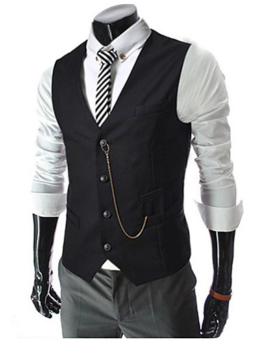 cheap Men's Outerwear-Men's Vest Daily Work Regular Solid Colored White / Black / Red M / L / XL