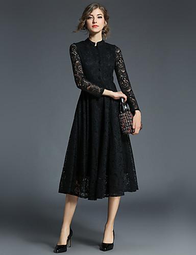 0f8c6f78dba [$24.99] Γυναικεία Καθημερινό Βαμβάκι Λεπτό Θήκη Φόρεμα - Μονόχρωμο,  Δαντέλα Μίντι ...