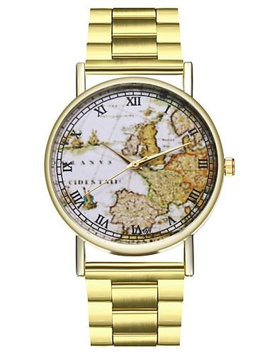 Ανδρικά ΠΑΓΚΟΣΜΙΟΣ ΧΑΡΤΗΣ Ανοξείδωτο Ατσάλι Χρυσό Χρονογράφος Μεγάλο καντράν Αναλογικό Παγκόσμιος Χάρτης Pattern Ταξιδιωτικός χάρτης - Χρυσό Ενας χρόνος Διάρκεια Ζωής Μπαταρίας / SSUO LR626