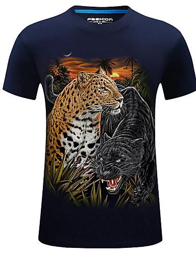 levne Pánská tílka-Pánské - Leopard / Zvíře Sport Základní / Šik ven Větší velikosti Tričko, Tisk Bavlna Kulatý Vodní modrá / Krátký rukáv / Léto