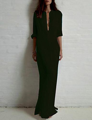 levne Maxi šaty-Dámské Bavlna Košile Šaty - Jednobarevné, Základní Maxi Stojáček