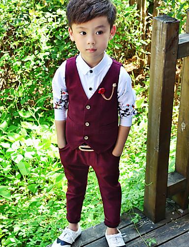 povoljno Najprodavanije-Dijete koje je tek prohodalo Dječaci Jednostavan Jednobojni Moderna Bez rukávů Komplet odjeće Sive boje