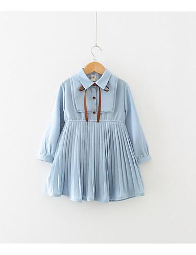 preiswerte Ausverkauf-Baby Mädchen Einfach Alltag Solide Langarm Kleid Leicht Blau
