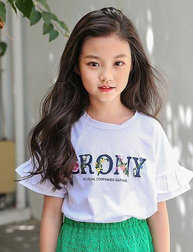 preiswerte Ausverkauf-Kinder Mädchen Einfach Alltag Solide Kurzarm Baumwolle T-Shirt Weiß
