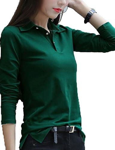 billige Dametopper-Tynn Skjortekrage Store størrelser T-skjorte Dame - Ensfarget Aktiv / Grunnleggende Svart