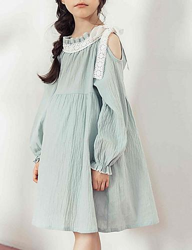 preiswerte Zurück in die Schule-Kinder Mädchen Einfach Retro Solide Langarm Kleid Leicht Blau