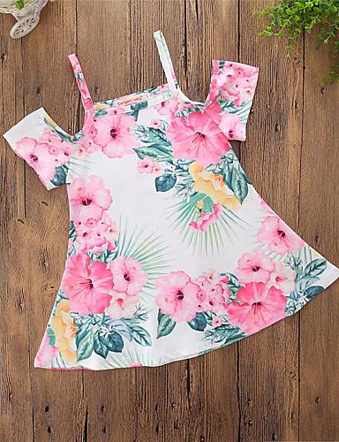 preiswerte Frische Palmenprints-Baby Mädchen Freizeit Blumen Stilvoll Schlank Print Kurzarm Kleid Regenbogen / Baumwolle / Niedlich / Druck