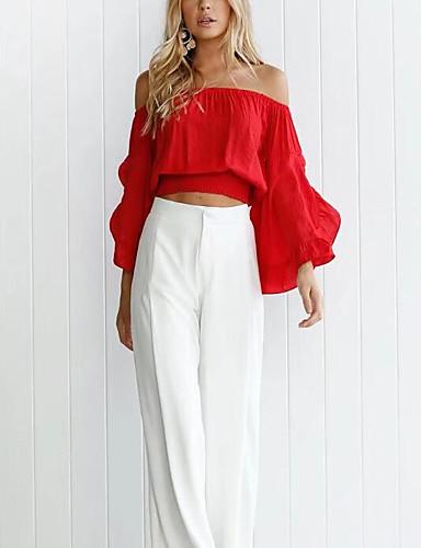 billige Dametopper-Båthals Skjorte Dame - Ensfarget Chic & Moderne Rød