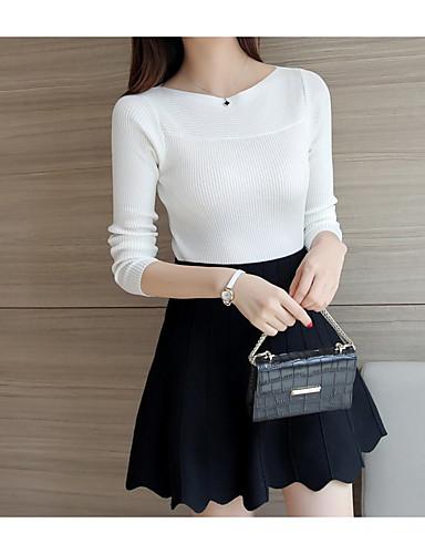billige Dametopper-Bomull T-skjorte Dame - Ensfarget Chic & Moderne Svart