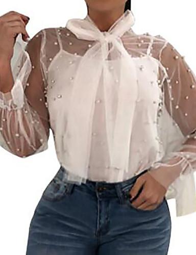 billige Dametopper-Løstsittende Skjorte Dame - Ensfarget, Perler Ut på byen Hvit / Sommer / Ren / Sexy