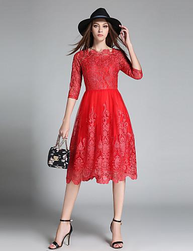 a3f4e3011 Mulheres Tamanhos Grandes Sofisticado balanço Vestido - Renda / Bordado,  Côr Sólida Decote Quadrado Médio de 6558707 2019 por $44.99
