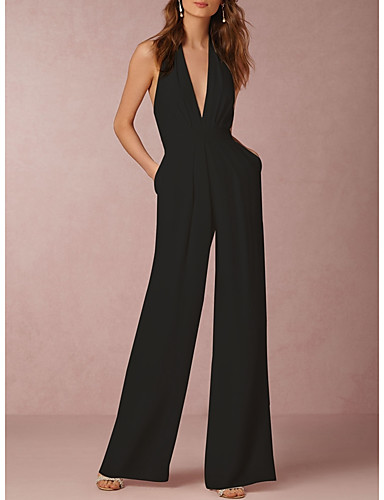 cheap Women's Jumpsuits & Rompers-Women's Wide Leg Backless Kentucky Derby Daily Sexy Halter Neck Wine Black Red Wide Leg Jumpsuit Onesie, Solid Colored Backless S M L Cotton Sleeveless Summer