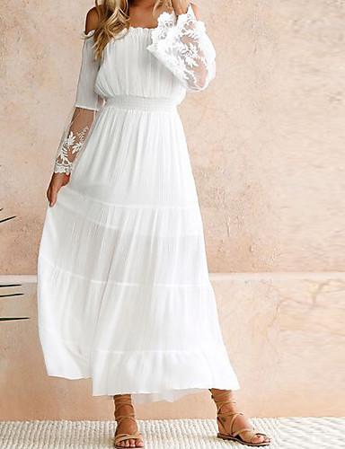 levne Maxi šaty-Dámské Párty Plážové Swing Šaty - Jednobarevné, Krajka Maxi Pod rameny Bílá