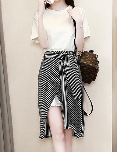 preiswerte Damen zweiteilige Anzüge-Damen Grundlegend Übergrössen Puff Ärmel Bluse - Solide / Gestreift, Druck Rock / Sommer / mit feinen Streifen