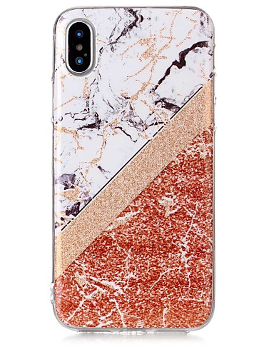 tok Για Apple iPhone X / iPhone 8 Plus / iPhone 8 IMD / Με σχέδια Πίσω Κάλυμμα Λάμψη γκλίτερ / Μάρμαρο Μαλακή TPU