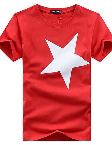 voordelige Uitverkoop-Heren Print T-shirt Geometrisch Ronde hals Zwart / Korte mouw / Zomer