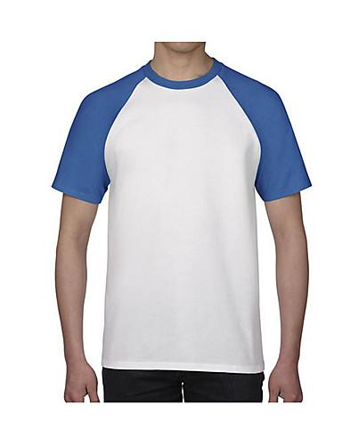 levne Pánská tílka-Pánské - Jednobarevné Aktivní Tričko Bavlna Kulatý Černá / Krátký rukáv / Dlouhé